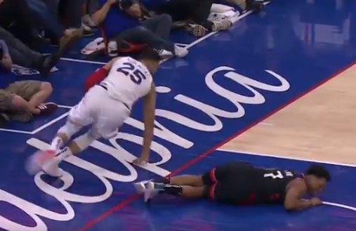 Ben Simmons puts cheap shot on Kyle Lowry, hits him in groin (Video)