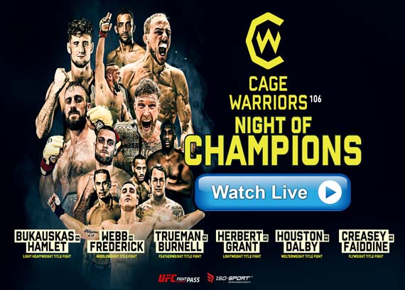 Cage Warriors 106: Night of Champions live streaming