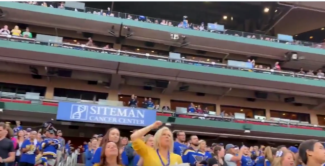 Blues fans pack Busch Stadium for Game 7 watch party (Video)