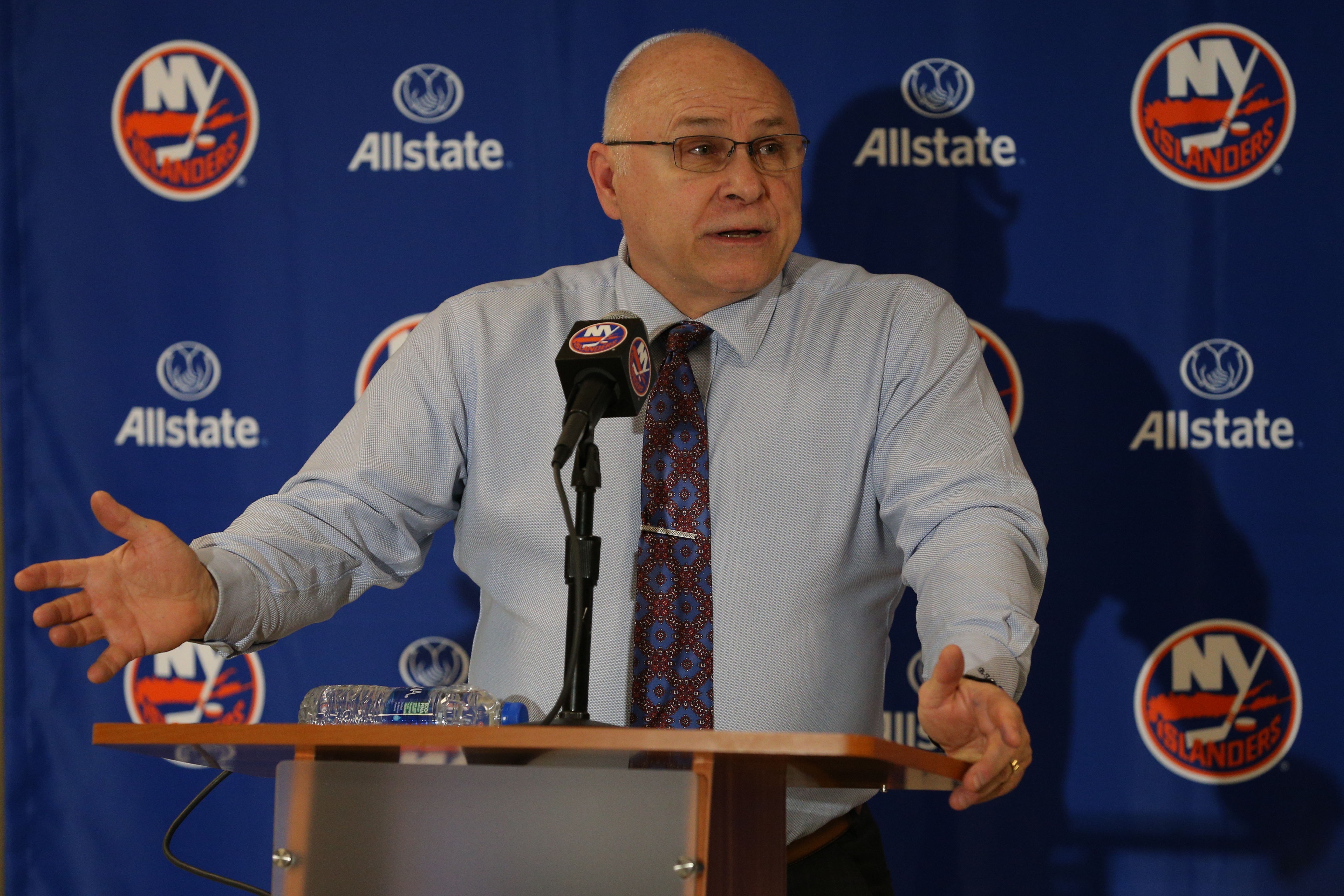 Mar 5, 2019; Uniondale, NY, USA; New York Islanders head coach Barry Trotz speaks after defeating the Ottawa Senators in overtime at Nassau Veterans Memorial Coliseum. The win was the 800th of his career. Mandatory Credit: Brad Penner-USA TODAY Sports