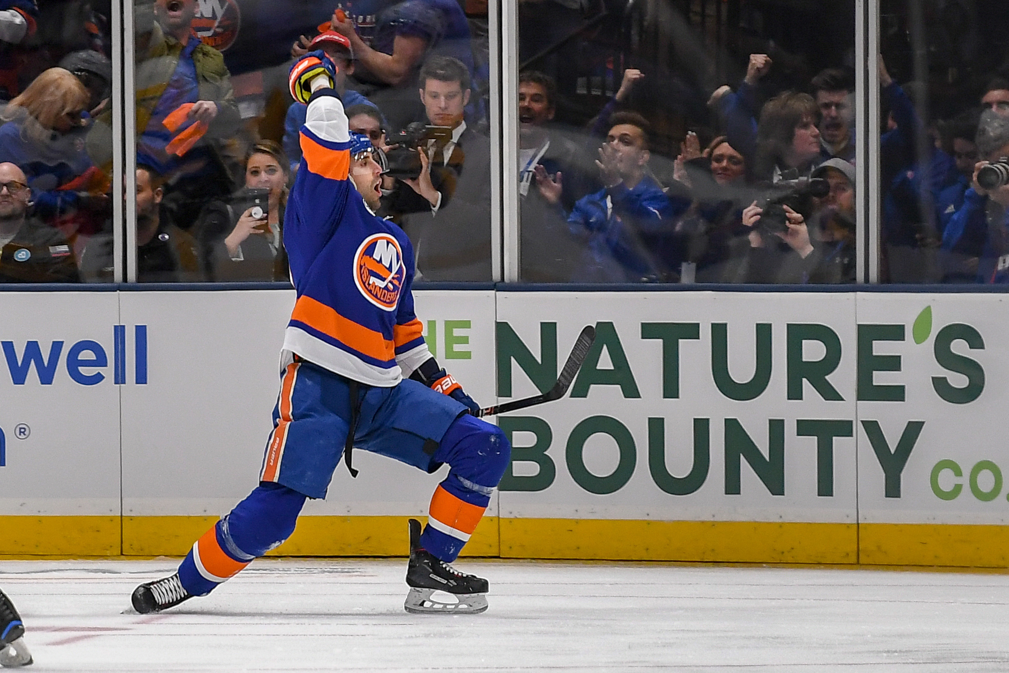 Apr 10, 2019; Brooklyn, NY, USA; New York Islanders right wing Jordan Eberle (7) celebrates his goal against the Pittsburgh Penguins during the first period in game one of the first round of the 2019 Stanley Cup Playoffs at Barclays Center. Mandatory Credit: Dennis Schneidler-USA TODAY Sports