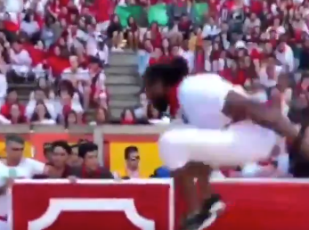 Josh Norman leaps over bull in Spain (Video)