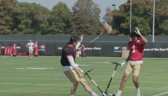 Watch: 49ers rookies battle it out, do hilarious scooter jousting routine