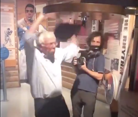 Watch: Bernie Sanders beaten up by boxing speed bag in hilarious video
