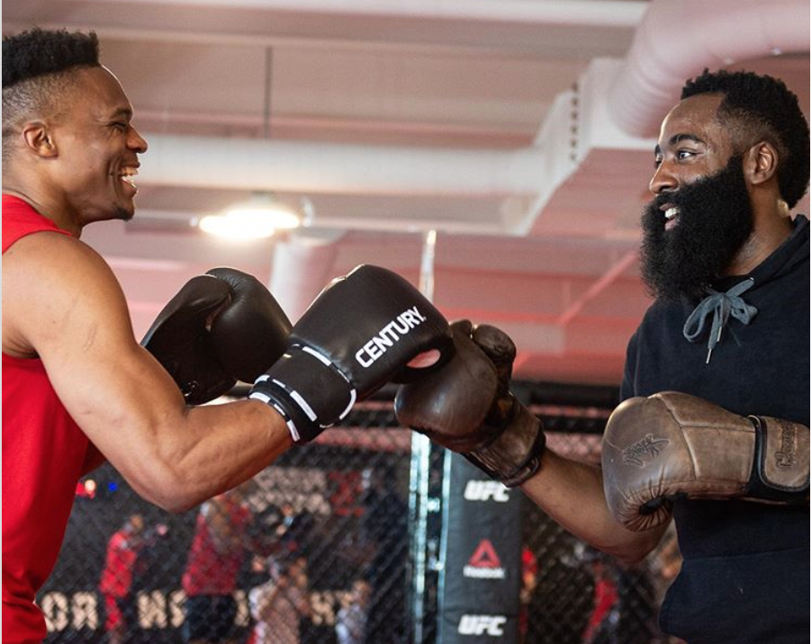 James Harden, Russell Westbrook do boxing workout with UFC fighters (Video)