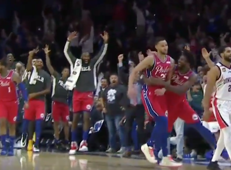 Ben Simmons drains first-ever NBA three-pointer, goes nuts celebrating (Video)