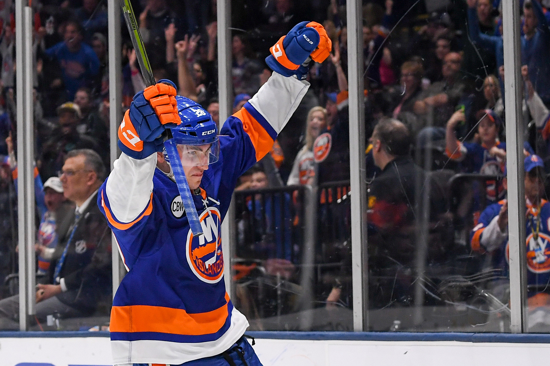 Mar 30, 2019; Uniondale, NY, USA; New York Islanders left wing Michael Dal Colle (28) celebrates his goal against the Buffalo Sabres during the second period at Nassau Veterans Memorial Coliseum. Mandatory Credit: Dennis Schneidler-USA TODAY Sports