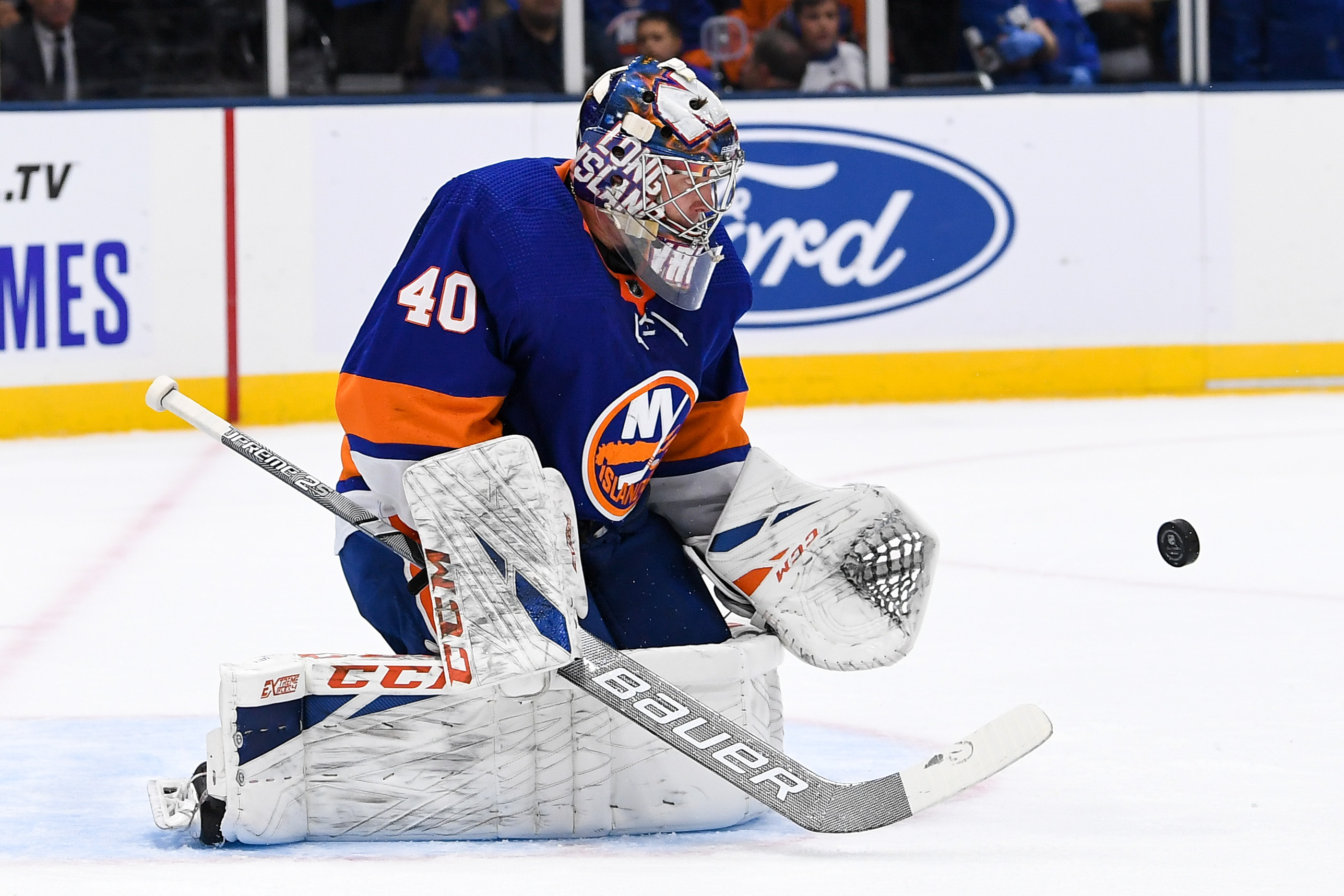 Oct 4, 2019; Uniondale, NY, USA; New York Islanders goaltender Semyon Varlamov (40) makes a save against the against the Washington Capitals during the first period at Nassau Veterans Memorial Coliseum. Mandatory Credit: Dennis Schneidler-USA TODAY Sports