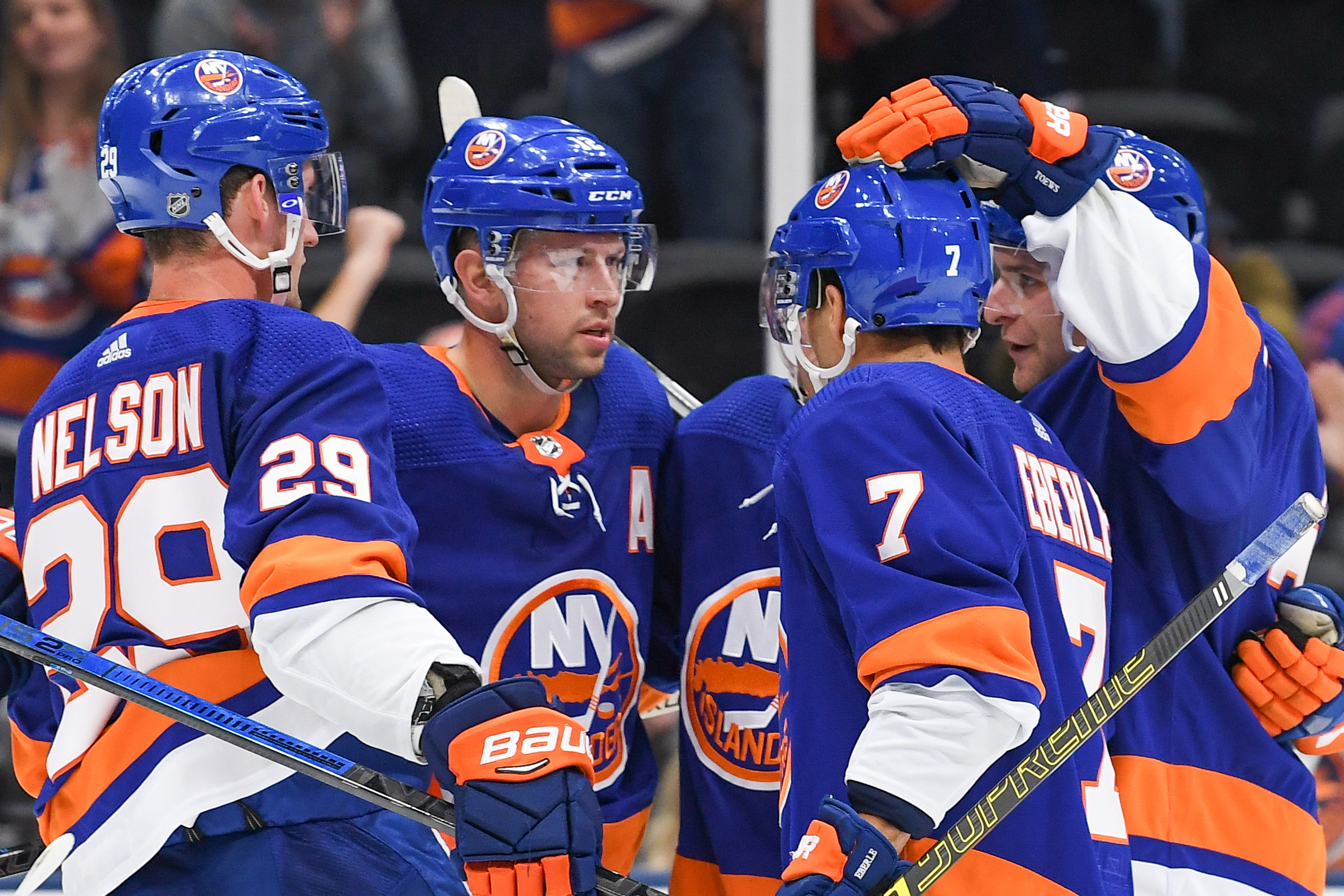 Oct 6, 2019; Brooklyn, NY, USA; New York Islanders celebrate the goal by left wing Anders Lee (27) against the Winnipeg Jets during the second period at Nassau Veterans Memorial Coliseum. Mandatory Credit: Dennis Schneidler-USA TODAY Sports