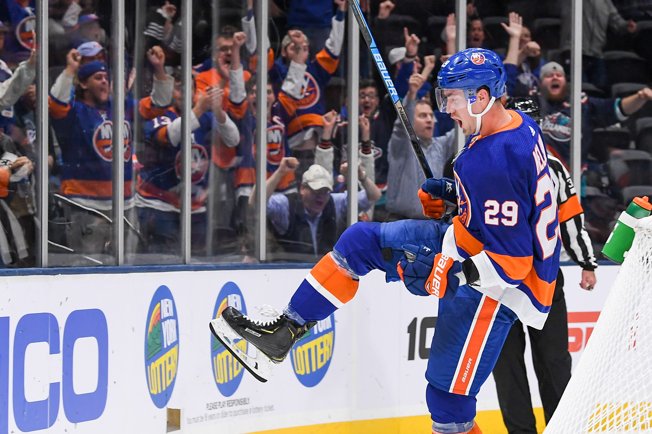Oct 6, 2019; Brooklyn, NY, USA; New York Islanders center Brock Nelson (29) celebrates his goal against the Winnipeg Jets during the second period at Nassau Veterans Memorial Coliseum. Mandatory Credit: Dennis Schneidler-USA TODAY Sports