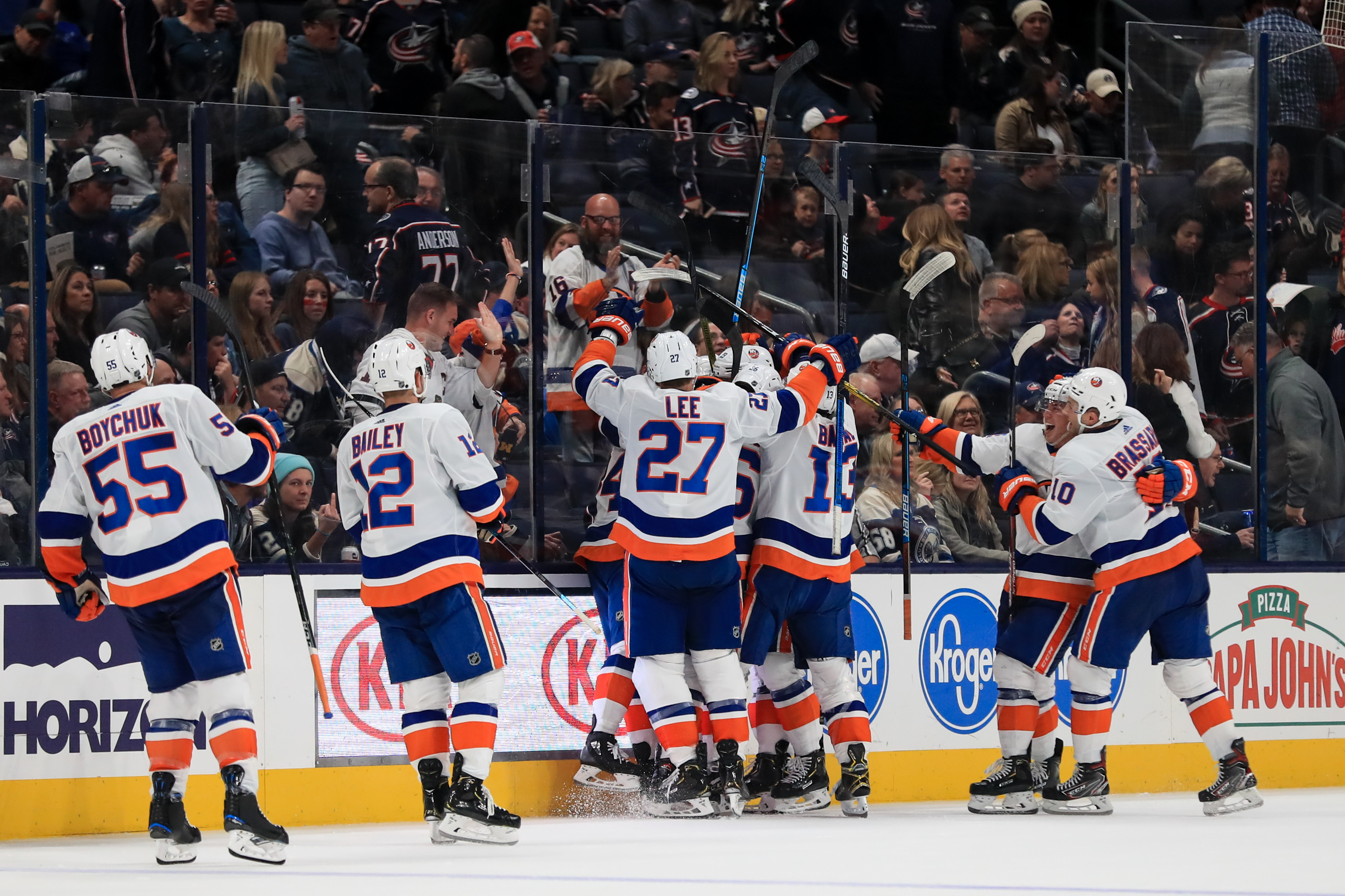 Oct 19, 2019; Columbus, OH, USA; New York Islanders center Brock Nelson (29) celebrates scoring the game winning goal against the Columbus Blue Jackets in the overtime period at Nationwide Arena. Mandatory Credit: Aaron Doster-USA TODAY Sports
