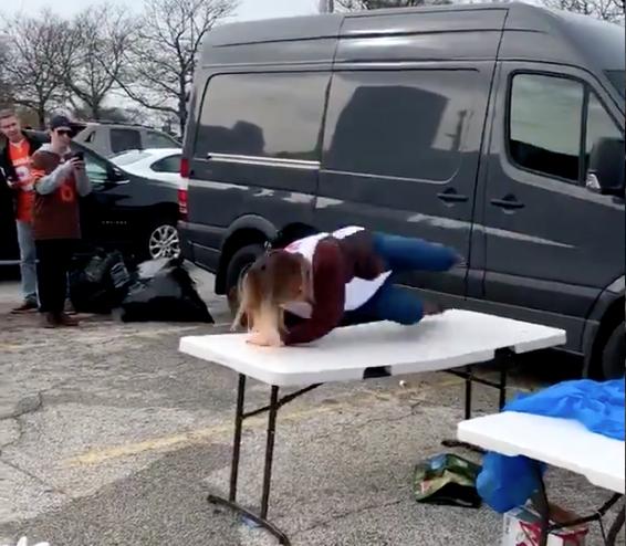 Browns fan tries to jump through table like Bills Mafia, fails miserably (Video)
