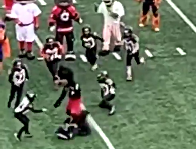 Bengals mascot flattens poor kids on field in halftime pickup game (Video)