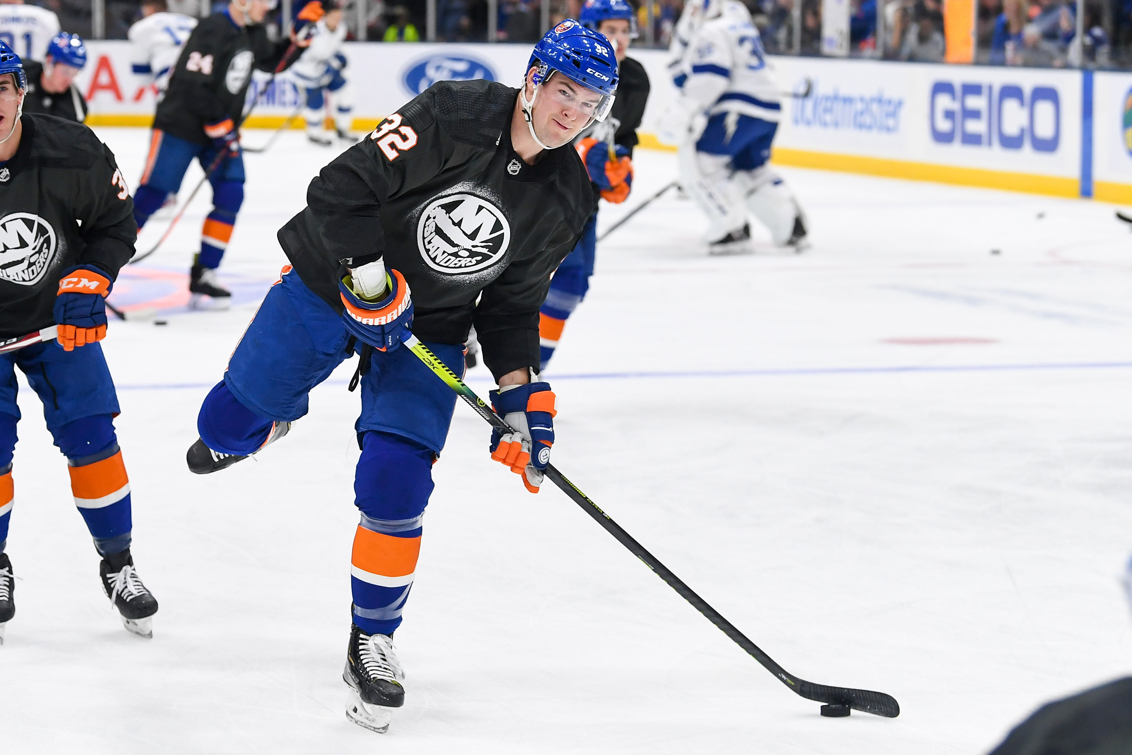 Nov 1, 2019; Uniondale, NY, USA; New York Islanders left wing Ross Johnston (32) wears his Military jersey for Military Appreciation Night before the game against the Tampa Bay Lightning at Nassau Veterans Memorial Coliseum. Mandatory Credit: Dennis Schneidler-USA TODAY Sports