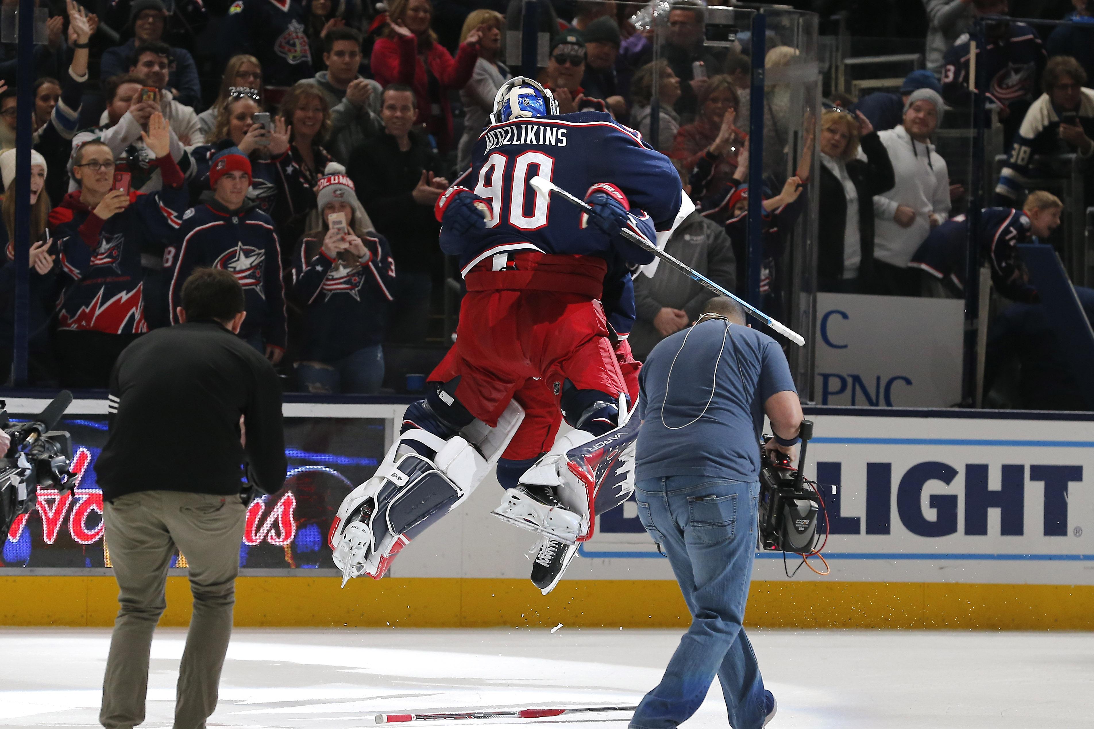 Elvis Merzlikins becomes third Latvian to record a NHL shutout