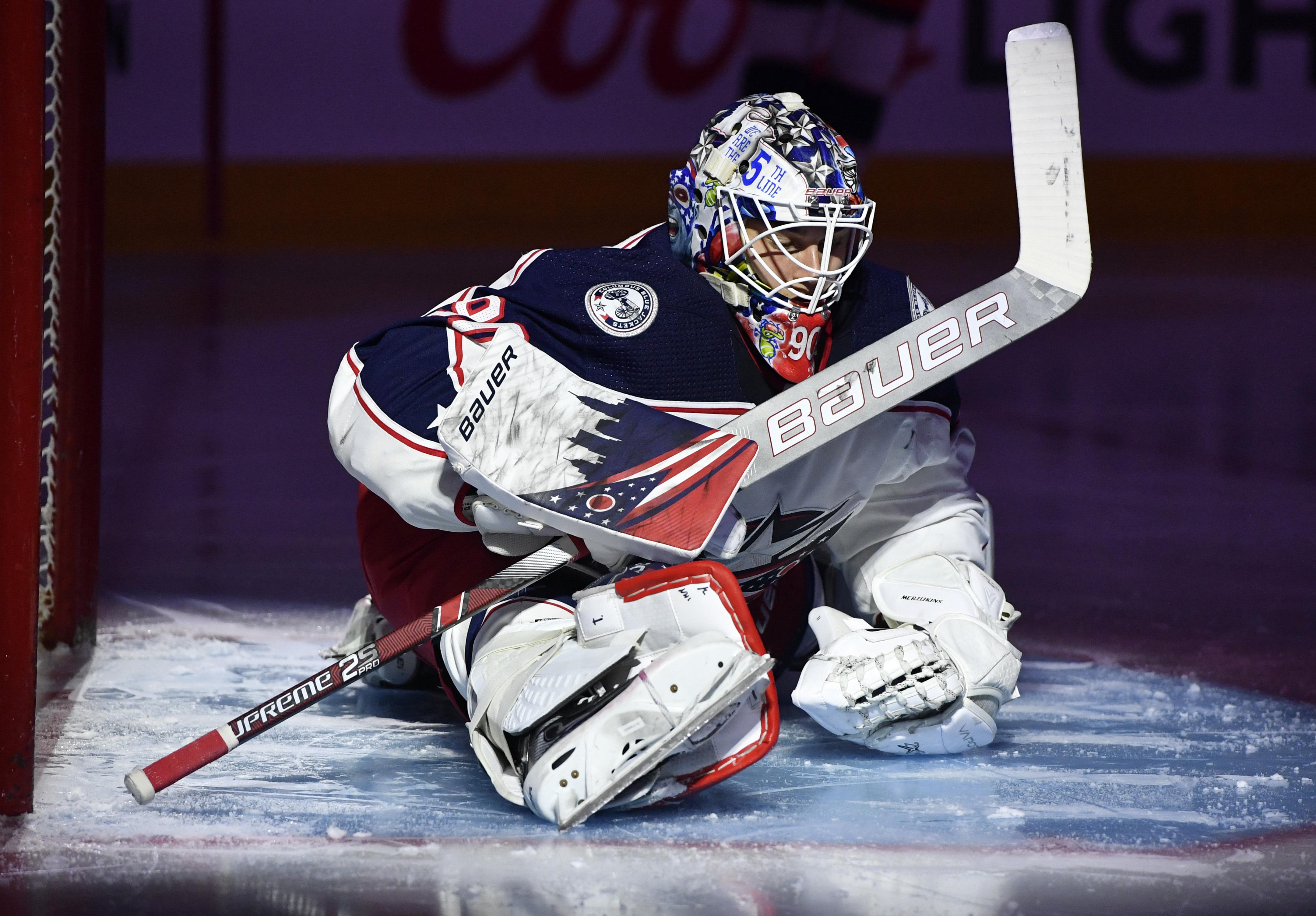 Elvis Merzlikins takes over NHL lead in shutouts