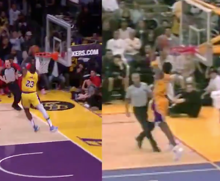 Side-by-side comparison of reverse windmill dunks by Kobe Bryant, LeBron James are unbelievably similar