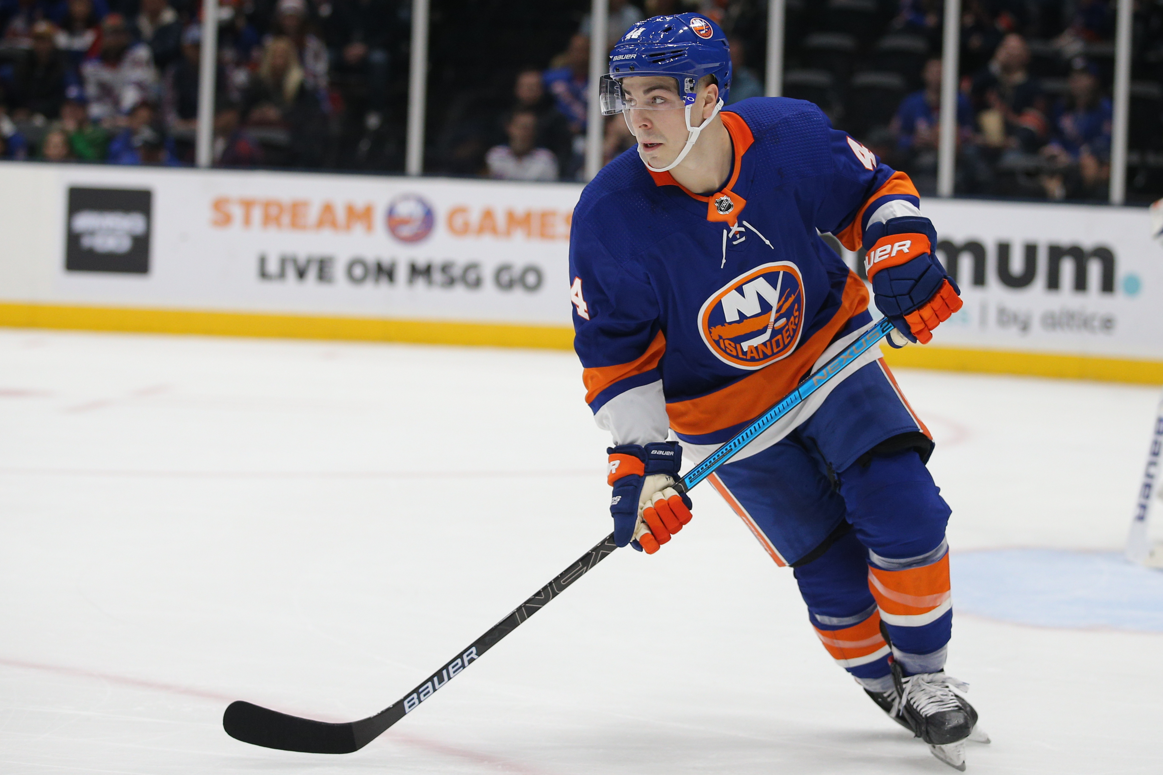 Feb 25, 2020; Uniondale, New York, USA; New York Islanders center Jean-Gabriel Pageau (44) skates against the New York Rangers during the first period at Barclays Center. Mandatory Credit: Brad Penner-USA TODAY Sports