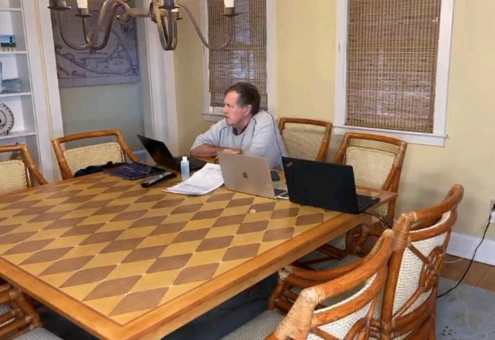 Photo of Bill Belichick isolated in empty, barren, low-tech draft room is peak Belichick