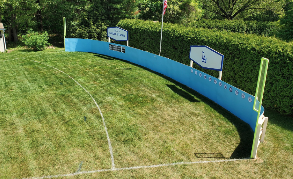 Look: Fan gets creative in building mini Dodger Stadium in his backyard