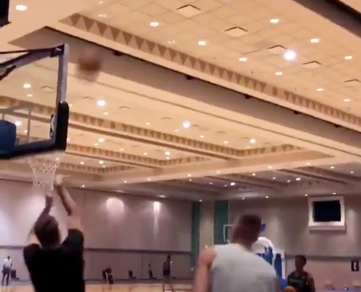 Luka Doncic already mastering the ballroom basketball court with trick shots (Video)