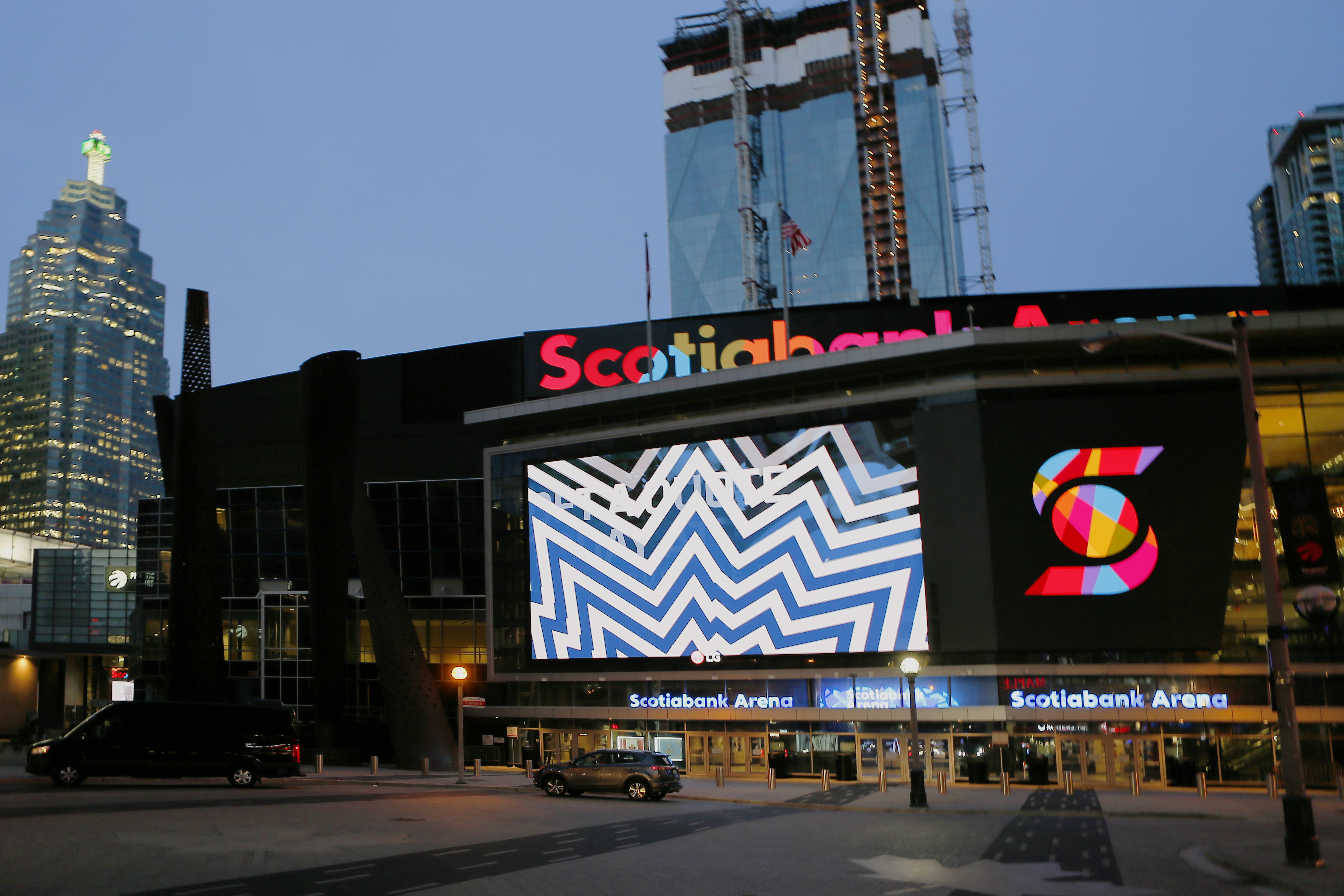 Mar 12, 2020; Toronto, Ontario, CAN; A general view of Scotiabank Arena after the cancellation of a game between the Nashville Predators and Toronto Maple Leafs. Mandatory Credit: John E. Sokolowski-USA TODAY Sports